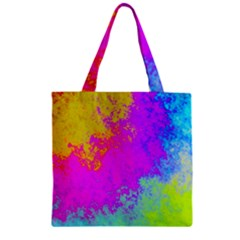 Grunge Radial Gradients Red Yellow Pink Cyan Green Zipper Grocery Tote Bag by EDDArt