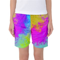 Grunge Radial Gradients Red Yellow Pink Cyan Green Women s Basketball Shorts by EDDArt