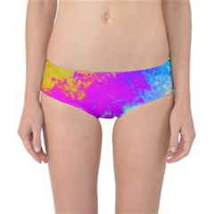 Grunge Radial Gradients Red Yellow Pink Cyan Green Classic Bikini Bottoms by EDDArt