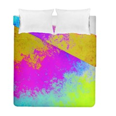 Grunge Radial Gradients Red Yellow Pink Cyan Green Duvet Cover Double Side (full/ Double Size) by EDDArt