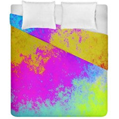 Grunge Radial Gradients Red Yellow Pink Cyan Green Duvet Cover Double Side (california King Size) by EDDArt