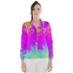 Grunge Radial Gradients Red Yellow Pink Cyan Green Wind Breaker (women) by EDDArt