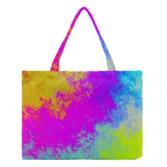 Grunge Radial Gradients Red Yellow Pink Cyan Green Medium Tote Bag by EDDArt
