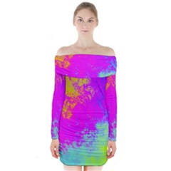 Grunge Radial Gradients Red Yellow Pink Cyan Green Long Sleeve Off Shoulder Dress by EDDArt