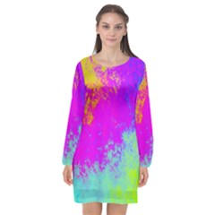 Grunge Radial Gradients Red Yellow Pink Cyan Green Long Sleeve Chiffon Shift Dress  by EDDArt