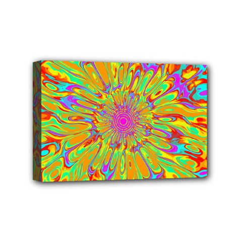 Magic Ripples Flower Power Mandala Neon Colored Mini Canvas 6  X 4  by EDDArt