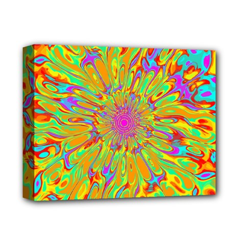 Magic Ripples Flower Power Mandala Neon Colored Deluxe Canvas 14  X 11  by EDDArt
