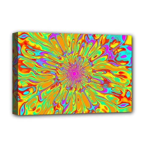 Magic Ripples Flower Power Mandala Neon Colored Deluxe Canvas 18  X 12   by EDDArt