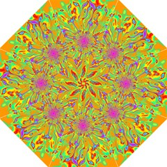 Magic Ripples Flower Power Mandala Neon Colored Hook Handle Umbrellas (large) by EDDArt