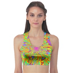 Magic Ripples Flower Power Mandala Neon Colored Sports Bra by EDDArt