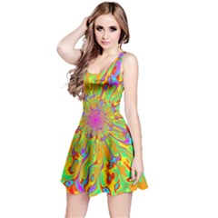 Magic Ripples Flower Power Mandala Neon Colored Reversible Sleeveless Dress by EDDArt