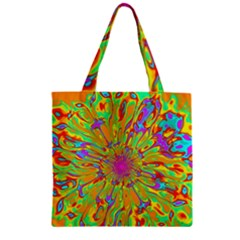 Magic Ripples Flower Power Mandala Neon Colored Zipper Grocery Tote Bag by EDDArt