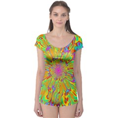 Magic Ripples Flower Power Mandala Neon Colored Boyleg Leotard  by EDDArt