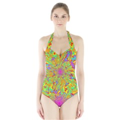 Magic Ripples Flower Power Mandala Neon Colored Halter Swimsuit by EDDArt