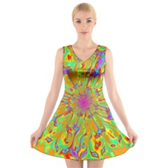 Magic Ripples Flower Power Mandala Neon Colored V Neck Sleeveless Skater Dress by EDDArt