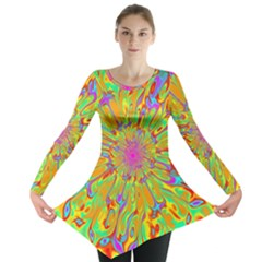 Magic Ripples Flower Power Mandala Neon Colored Long Sleeve Tunic  by EDDArt