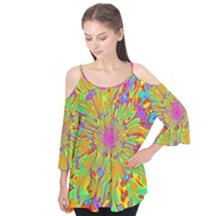 Magic Ripples Flower Power Mandala Neon Colored Flutter Tees by EDDArt