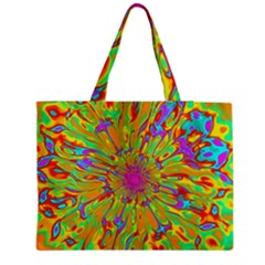 Magic Ripples Flower Power Mandala Neon Colored Medium Zipper Tote Bag by EDDArt