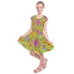 Magic Ripples Flower Power Mandala Neon Colored Kids  Short Sleeve Dress by EDDArt