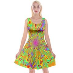 Magic Ripples Flower Power Mandala Neon Colored Reversible Velvet Sleeveless Dress by EDDArt
