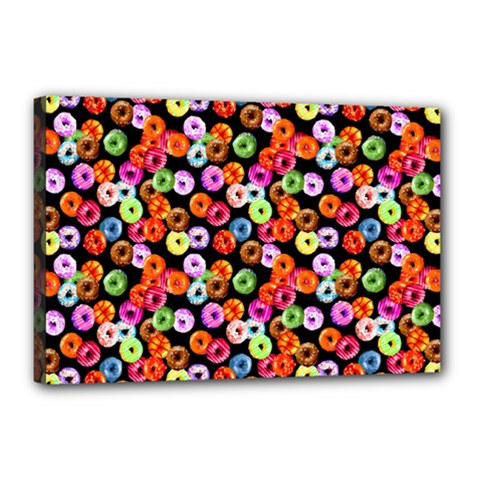 Colorful Yummy Donuts Pattern Canvas 18  X 12  by EDDArt