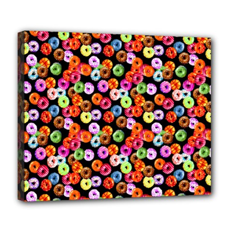 Colorful Yummy Donuts Pattern Deluxe Canvas 24  X 20   by EDDArt