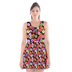 Colorful Yummy Donuts Pattern Scoop Neck Skater Dress by EDDArt