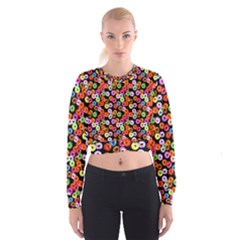 Colorful Yummy Donuts Pattern Cropped Sweatshirt by EDDArt