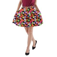 Colorful Yummy Donuts Pattern A Line Pocket Skirt by EDDArt