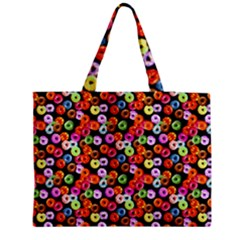 Colorful Yummy Donuts Pattern Medium Zipper Tote Bag by EDDArt