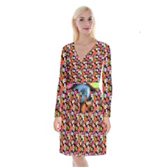 Colorful Yummy Donuts Pattern Long Sleeve Velvet Front Wrap Dress by EDDArt
