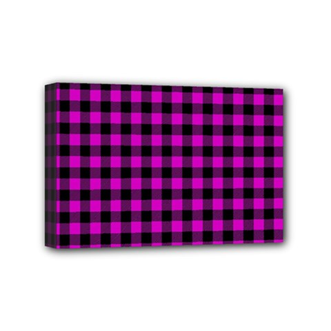 Lumberjack Fabric Pattern Pink Black Mini Canvas 6  X 4  by EDDArt