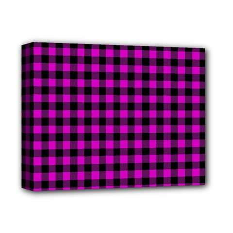 Lumberjack Fabric Pattern Pink Black Deluxe Canvas 14  X 11  by EDDArt