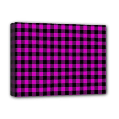 Lumberjack Fabric Pattern Pink Black Deluxe Canvas 16  X 12   by EDDArt