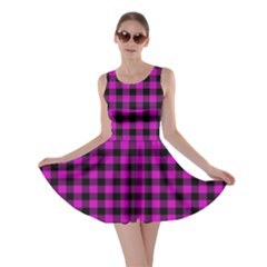 Lumberjack Fabric Pattern Pink Black Skater Dress by EDDArt