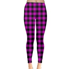 Lumberjack Fabric Pattern Pink Black Leggings  by EDDArt