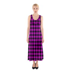 Lumberjack Fabric Pattern Pink Black Sleeveless Maxi Dress by EDDArt