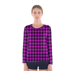 Lumberjack Fabric Pattern Pink Black Women s Long Sleeve Tee by EDDArt