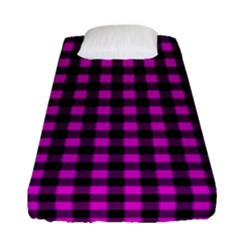 Lumberjack Fabric Pattern Pink Black Fitted Sheet (single Size) by EDDArt