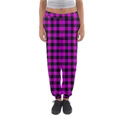 Lumberjack Fabric Pattern Pink Black Women s Jogger Sweatpants by EDDArt