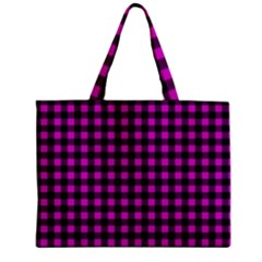 Lumberjack Fabric Pattern Pink Black Zipper Mini Tote Bag by EDDArt