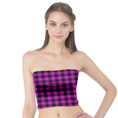 Lumberjack Fabric Pattern Pink Black Tube Top by EDDArt