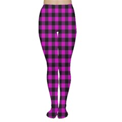 Lumberjack Fabric Pattern Pink Black Women s Tights by EDDArt