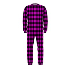 Lumberjack Fabric Pattern Pink Black Onepiece Jumpsuit (kids) by EDDArt