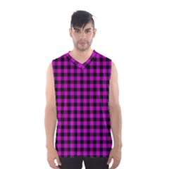 Lumberjack Fabric Pattern Pink Black Men s Basketball Tank Top by EDDArt