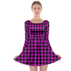 Lumberjack Fabric Pattern Pink Black Long Sleeve Skater Dress by EDDArt