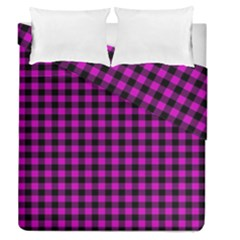 Lumberjack Fabric Pattern Pink Black Duvet Cover Double Side (queen Size) by EDDArt