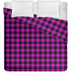 Lumberjack Fabric Pattern Pink Black Duvet Cover Double Side (king Size) by EDDArt