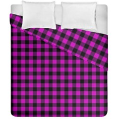 Lumberjack Fabric Pattern Pink Black Duvet Cover Double Side (california King Size) by EDDArt