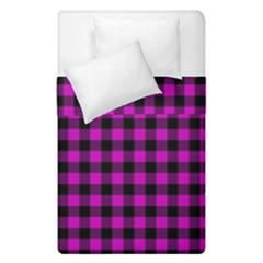 Lumberjack Fabric Pattern Pink Black Duvet Cover Double Side (single Size) by EDDArt